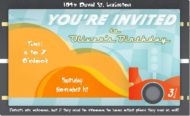 Oliver 3rd Birthday Invite