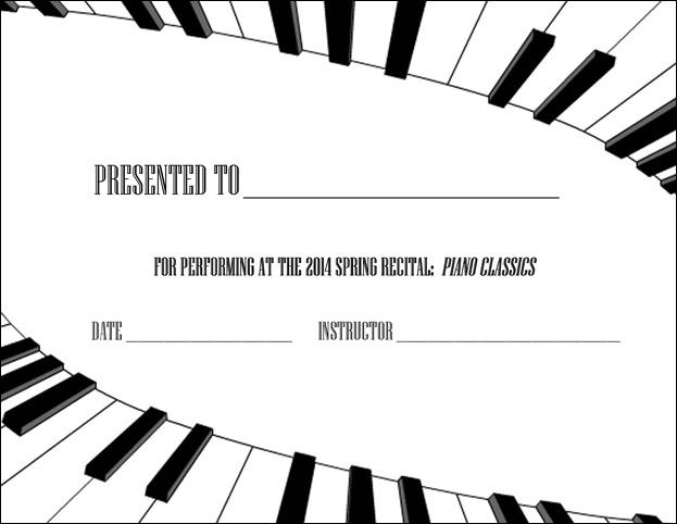 Spring Piano Recital Diploma 2014